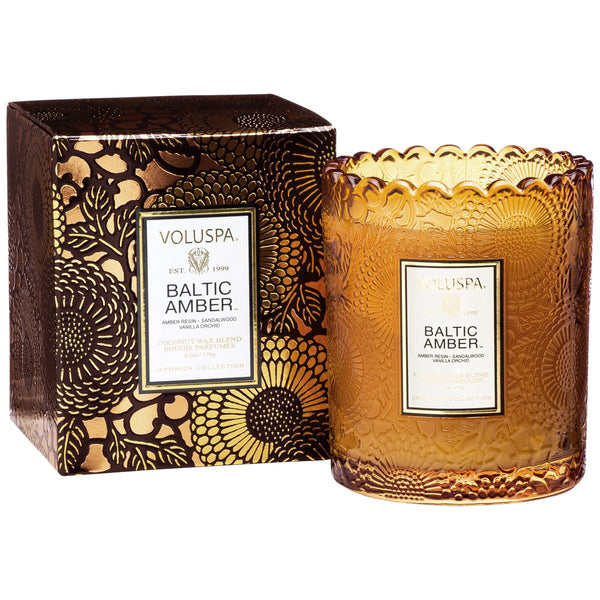 BALTIC AMBER SCALLOPED EDGE CANDLE - Tooka Florist