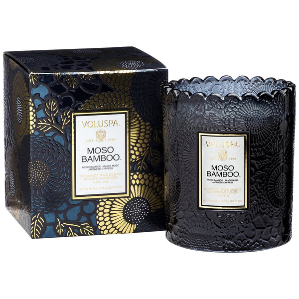 MOSO BAMBOO SCALLOPED EDGE CANDLE - Tooka Florist