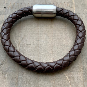 Brixton black unisex braided leather bracelet