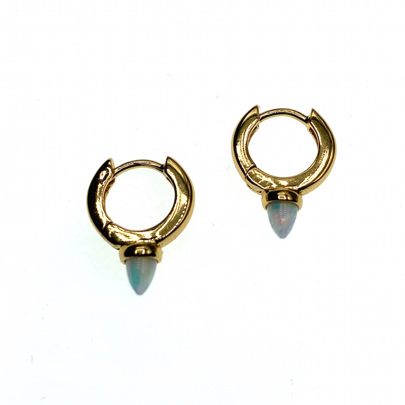 Bullet opal hoop earrings