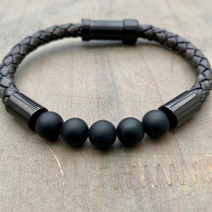 Hoxton Black unisex leather and stainless steel stone bracelet