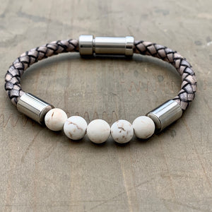 Hoxton Light unisex leather and stainless steel stone bracelet