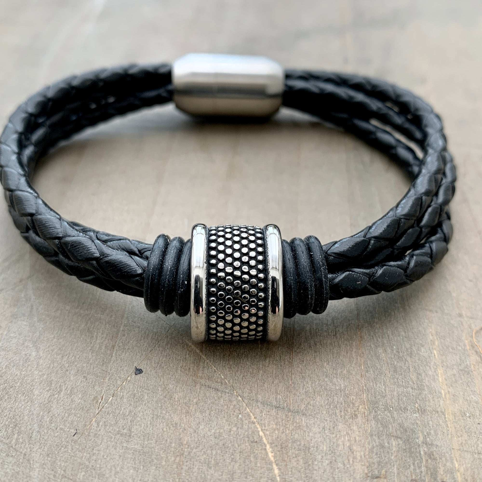 Shoreditch black braided men's leather bracelet