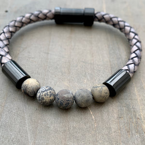 Hoxton grey unisex leather and stainless steel stone bracelet