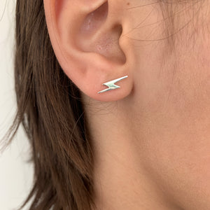 Silver thunder lightning ear studs