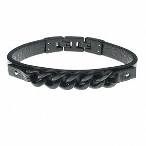 Kensington black leather bracelet