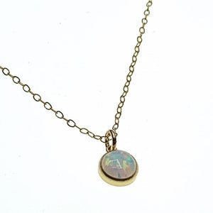 Opal bezel necklace