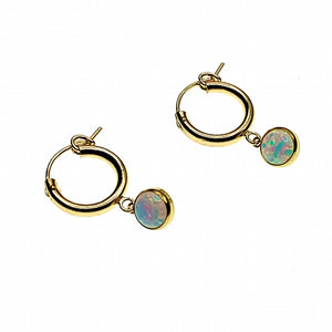 Opal hoop charm earrings