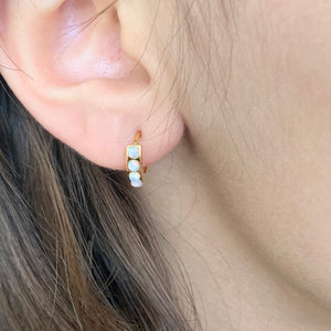 Opal huggies earrings