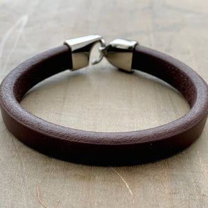 Portobello black unisex plain leather bracelet