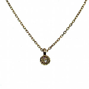Solid gold necklace with cubic zirconia charm pendant