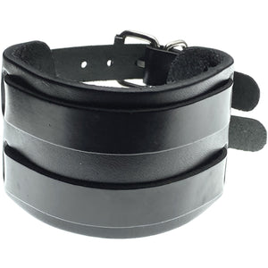 Dalston black wide leather buckle bracelet