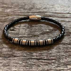 Black stainless steel braided leather bracelet