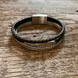 Multi strand braided black leather bracelet