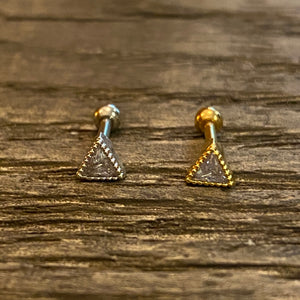 Triangle CZ surgical steel piercing cartilage/Helix piercing/Tragus