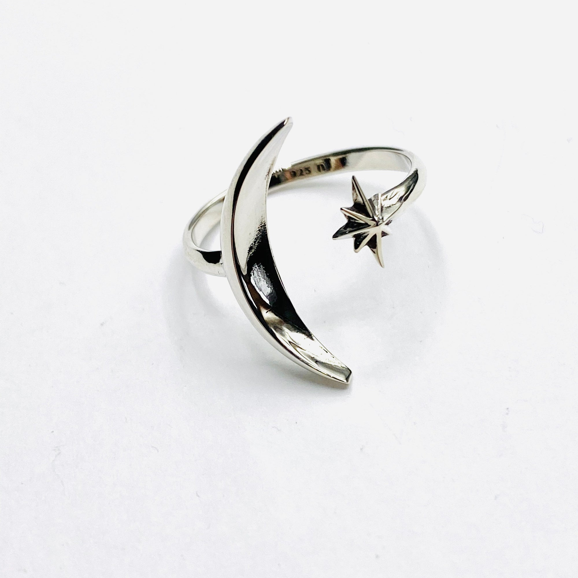 Star and moon silver ring