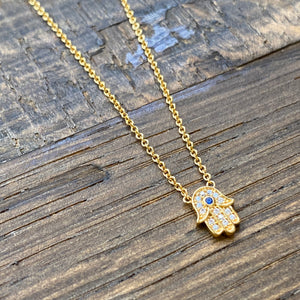 Fatima hand gold necklace
