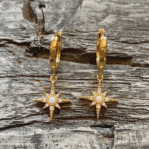 Star burst opal earrings