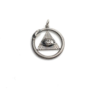 Ouroboros and third eye unisex necklace