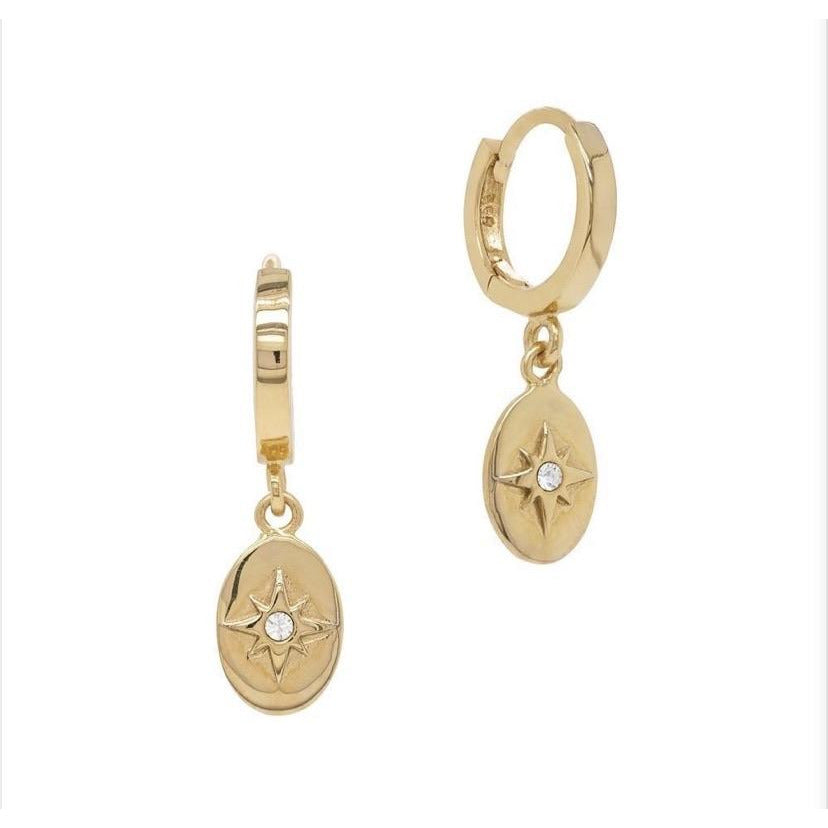 Oval star hoop earrings