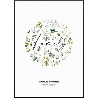 myfamposter familienposter floral family