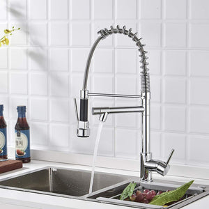 Chrome Kitchen Faucets with Pull Down Sprayer Dual Spout Mixer Tap
