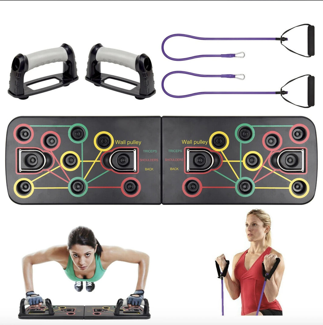 The Amaze Fitboard Push Up Training System - 13 in 1 Power Press Push Up Workout Muscle Board with Resistance Bands