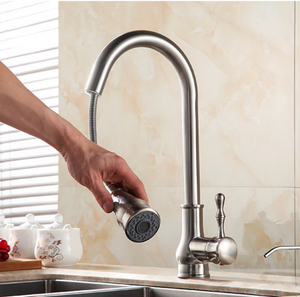 Kitchen Faucet Spray Pull Out High Arch Mixer Tap in Brushed Nickel
