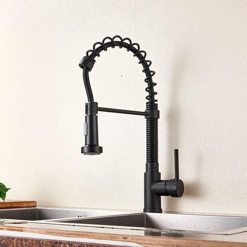 Black Pull Down Kitchen sink Faucet 360 Rotation Single Sprayer Tap