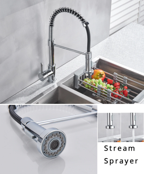 Spring Style Pull Down Kitchen Faucet with Rocker Switch in Chrome