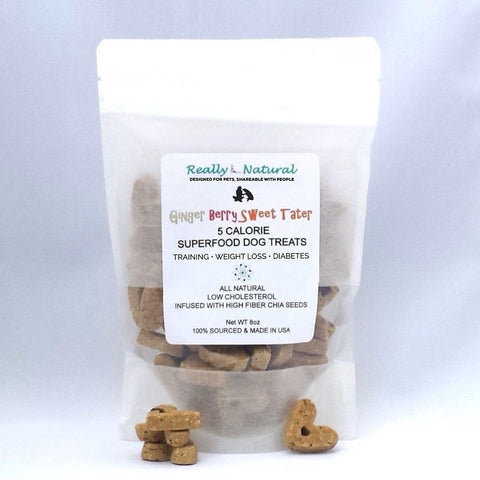 Low Calorie Dog Treats: Ginger Berry Sweet Potato, No Corn Wheat Soy