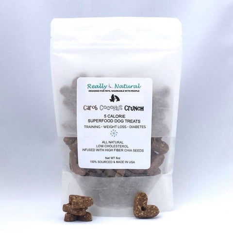 Low Calorie Dog Treats: Carob Coconut Crunch, No Corn Wheat Soy