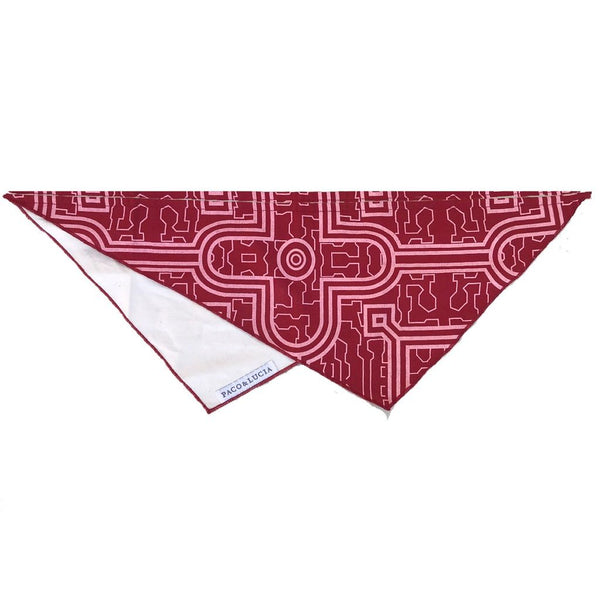 "Shipibo ""Red Moon"" Geometric Design Bandana - for Cats, Dogs & People"