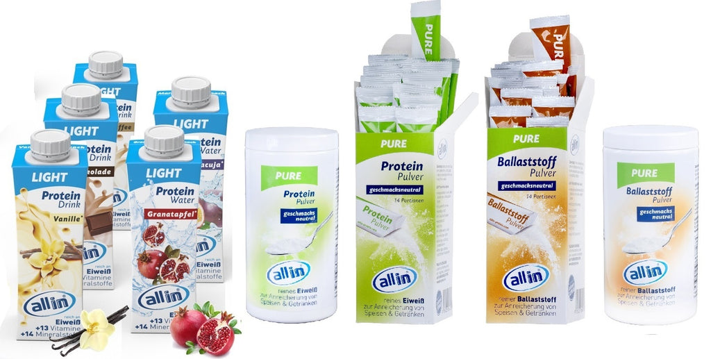 allin LIGHT Protein Drink & allin LIGHT Protein Water