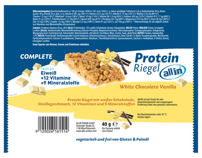 all in® COMPLETE Protein Riegel White Chocolate Vanilla (1 x 40g)