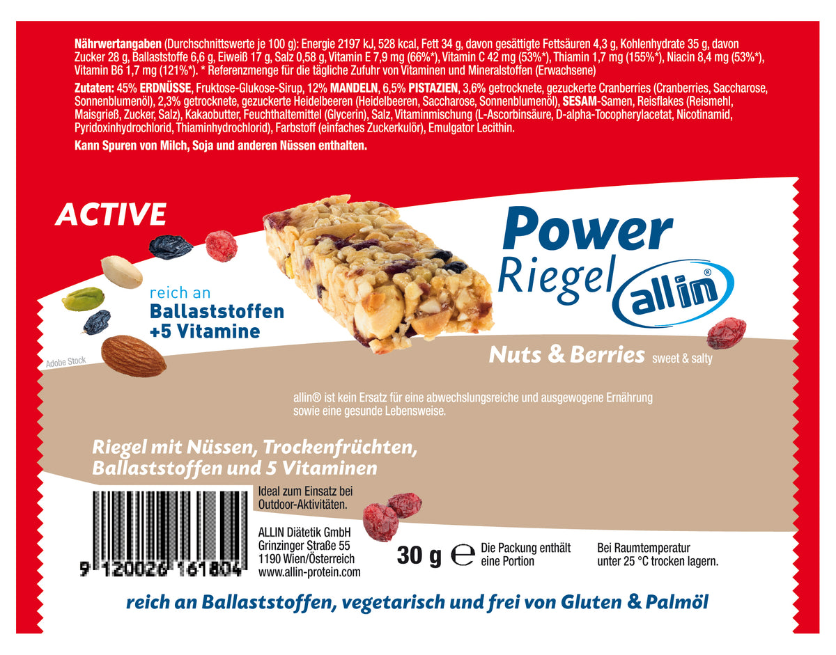 all in® ACTIVE Power Riegel Nuts & Berries, sweet & salty (24 x 30g)