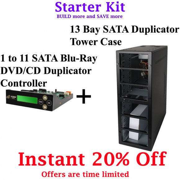 11 Targets Starter Kit - 1-11 Target Blu-ray, DVD, CD Duplicator Controller and 13 bay Duplicator Case