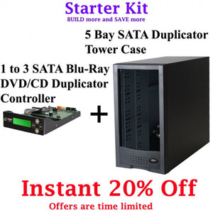 3 Targets Starter Kit - 1 to 3 Target Blu-ray, DVD, CD Duplicator Controller and 5 bay Duplicator Case