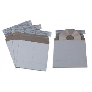Pack of 50 Large White Cardboard CD Mailer with Adhesive Flap