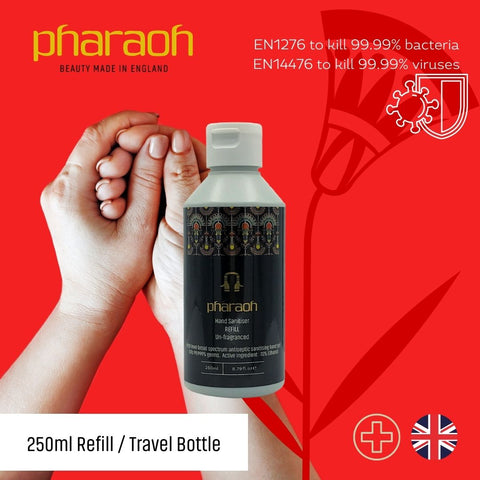 Hand Sanitiser 70% Alcohol Rub Refill Fragrance Free Approved for BS ES 1276 & BS EN 1500   Pharaoh London Cosmetics UK - discover beauty made in England