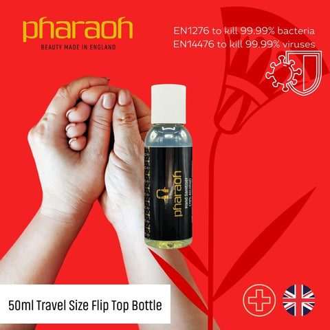 Hand Sanitiser 50ml Approved for BS EN 1276 & BS EN 1500 | Pharaoh London Cosmetics UK - discover beauty made in England