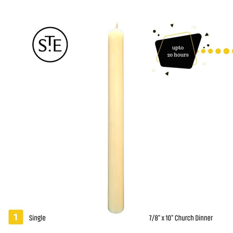"""Beautiful,and classic unscented Church Candles. Traditional hand drawn 7/8""""x10"""" dinner candles, supplied loose in boxes of 12. Each candle has an approximate burn time of 14 hours. Perfect for weddings and flower arrangements."""