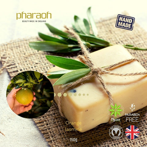 CLEOPATRA Organic Hand & Body Soap 150g (Jasmine & Orange) Paraben Free - Pharaoh London Cosmetics UK Ltd