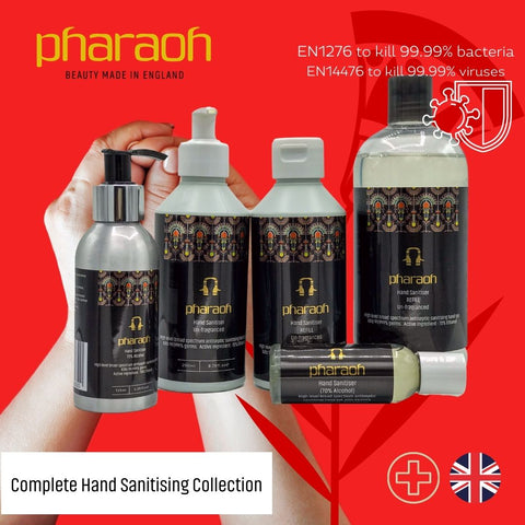 Hand Sanitiser Collection PROMOTION + Travel Pack | Pharaoh London Cosmetics UK - discover beauty made in England