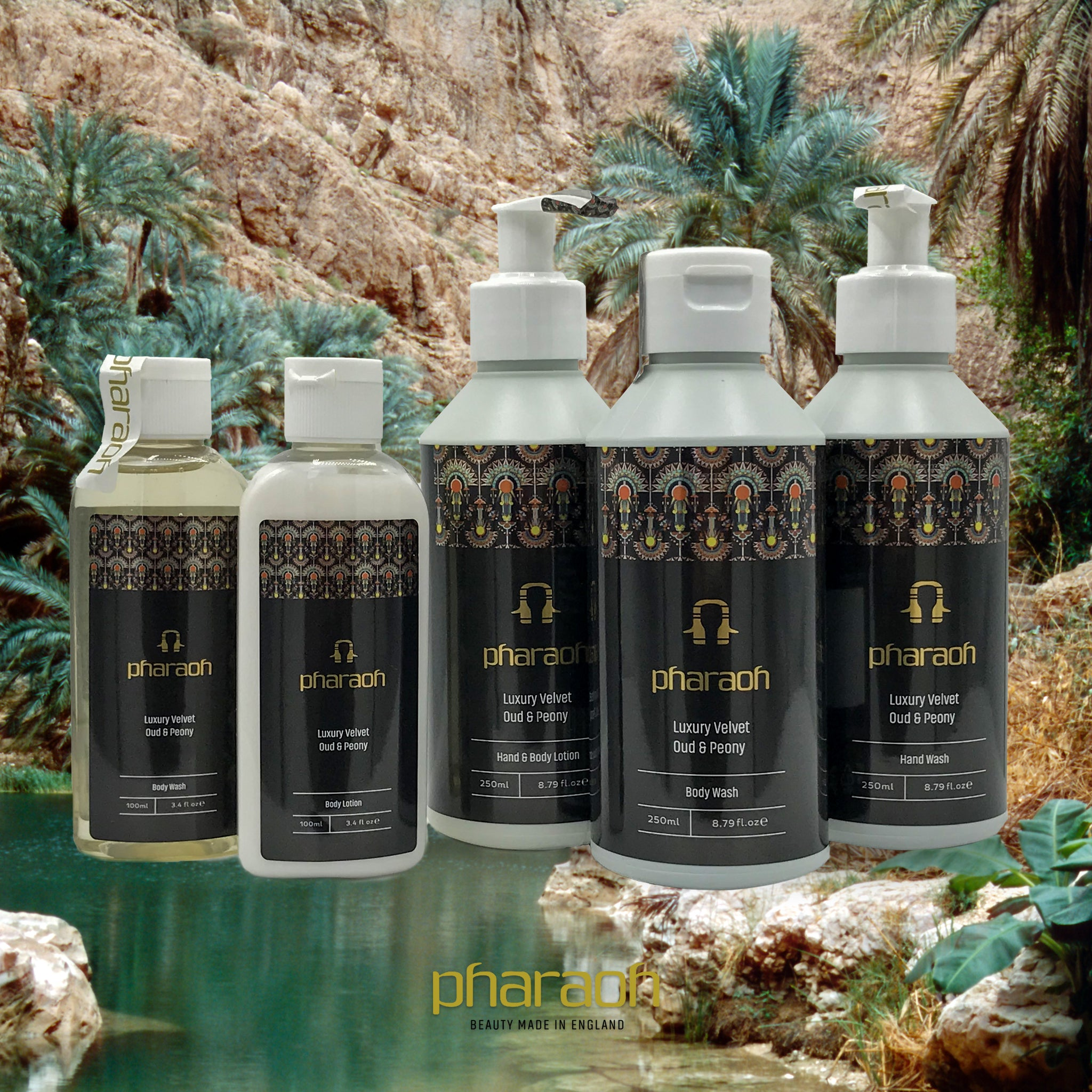 Pharaoh's Luxury Oud & Peony Bath & Body Collection | Pharaoh London Cosmetics UK