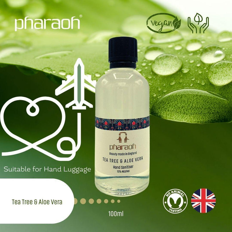 Tea Tree Hand Sanitiser 100ml with Child Safety Cap | Pharaoh London Cosmetics UK - discover beauty made in England