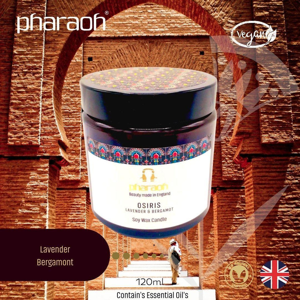 Organic SPA Essentials Soy Candle Sekhmet 120ml (Lavender Geranium Tea Tree)| Pharaoh London Cosmetics UK - discover beauty made in England