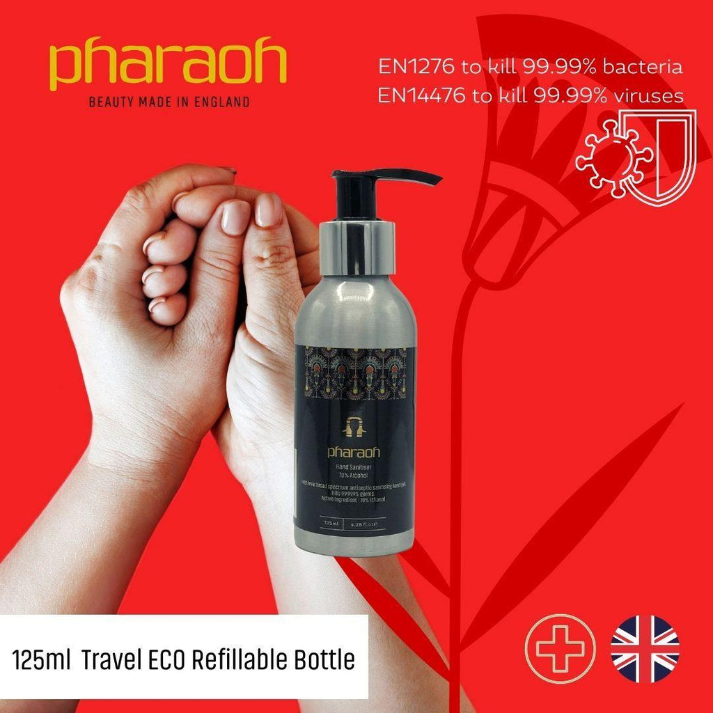 Hand Sanitiser 70% Alcohol Re-Usable Aluminium 125ml Approved for BS EN 1276 & BS EN 1500 | Pharaoh London Cosmetics UK - discover beauty made in England
