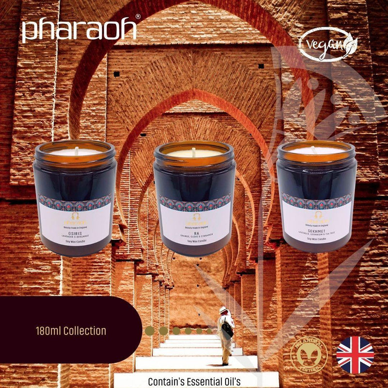 Organic SPA Essentials Soy Wax Candle Collection 3 x 180ml - Pharaoh London Cosmetics UK Ltd | discover beauty made in England
