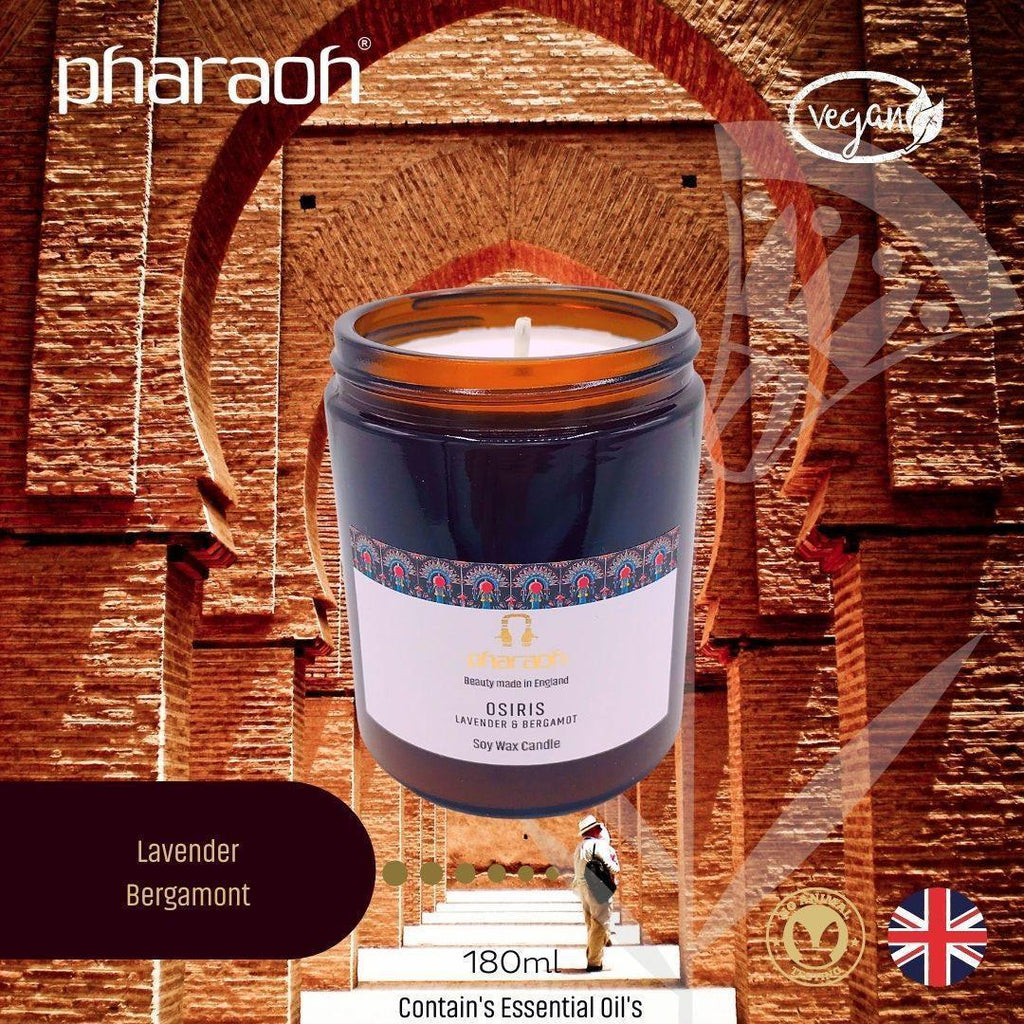 OSIRIS SPA Essentials Soy Wax Candle 180ml (Lavender Bergamot) - Pharaoh London Cosmetics UK Ltd | discover beauty made in England